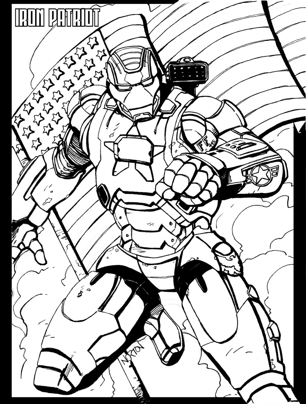 page 2 - Iron Man Patriot Coloring Pages